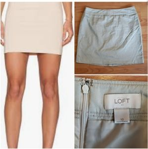 LOFT tan cream khaki mini skirt lined